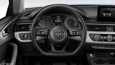 Flat bottomed 3-spoke leather trimmed high multi-function steering wheel (and paddles for automatic transmissions)
