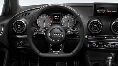Sport leather steering wheel with multifunction plus and shift paddles; flattened at the bottom