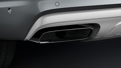 Sport tailpipe trims, for vehicles with 2.0 TFSI engine and single tailpipe on the left and right, chrome-finished, black