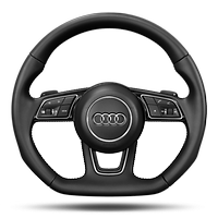 Sports contour leather-wrapped steering wheel w/ multi-function Plus, 3-spoke, flat-bottomed