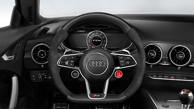 Leather-covered multifunction sports steering wheel, 3-spoke, with gearshift function