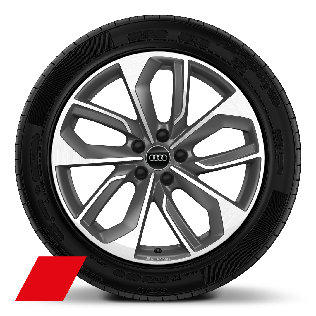"19"" x 8.0J '5-double-spoke edge' design alloy wheels  in matt titanium look, diamond cut finish with 235/40 R19 tyre"