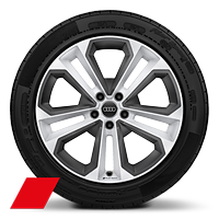 "19"" Audi Sport alloy wheels, 5-double-spoke module design, gloss white and inserts in Platinum grey with 235/40 tyres"