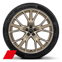 Audi Sport cast alloy wheels, 5-V-spoke star style, Matte Bronze, diamond- turned, 10J x 22, 285/40 R22 tires