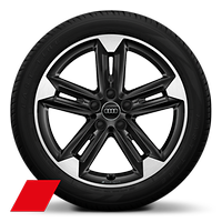 "18"" Audi Sport alloy wheels in 5-double-spoke design, Black, with 215/50 tyres"