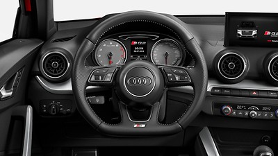 Flat-bottomed 3-spoke leather multi-function Sport steering wheel with gear-shift paddles