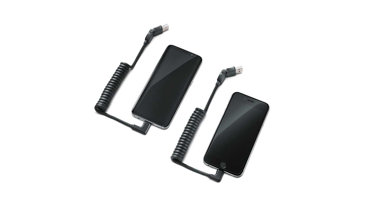 USB type-C charging cable set, for mobile devices with an Apple Lightning port, angled, and USB Type C port, angled