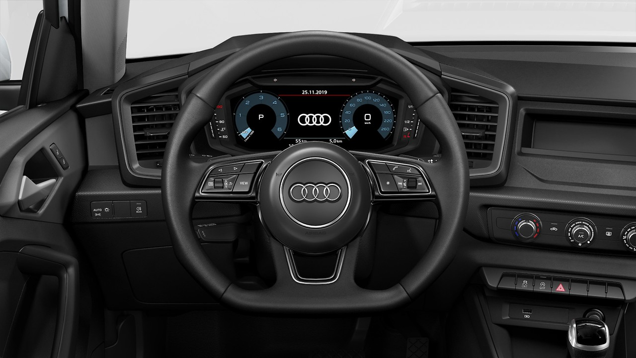 Flat-bottomed, 3-spoke leather multi-function steering wheel, with paddles  for S tronic transmissions