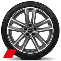 Audi Sport cast alloy wheels, 5-double- arm style, Matte Titanium Look, diam.- turned, 8.5J x 19 with 255/35 R19 tires
