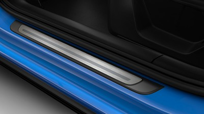 Door sill trims with aluminium inlay