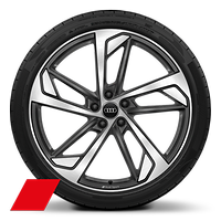 Audi Sport cast alloy wheels, 5-arm trapezoidal style, Matte Titanium Look, diam.-turn., 8.5J x 21, 255/35 R21 tires
