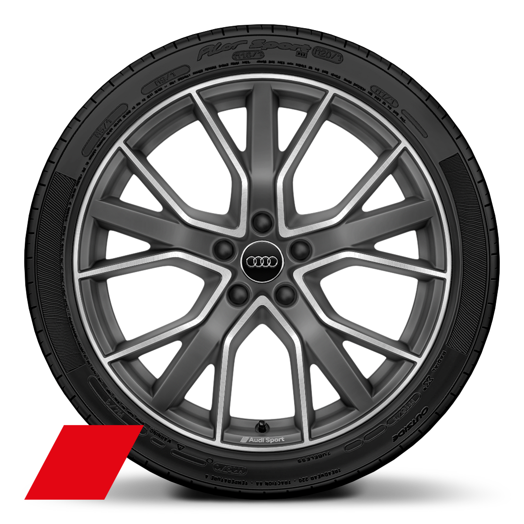 "19"" x 8.5J '5-V-spoke star' design alloy wheels in matt titanium look with 255/35 R19 tyres"