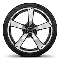 Audi Sport cast aluminium wheels in 5-arm cutter design in gloss anthracite black, gloss turned finish¹, ²