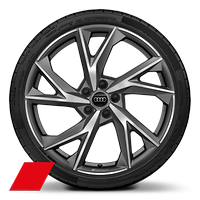 "20""  ""5-V spoke Evo"" design cast aluminum wheels in matt titanium, diamond cut finish"
