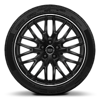 Audi Sport cast alloy wheels, 10-spoke Y-style, Glossy Black, 8J x 19 with 235/ 35 R19 tires