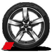 "19"" Audi Sport® 5-arm-polygon high-gloss anthracite black finish wheels"