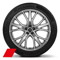 Audi Sport cast alloy wheels, 5-V-spoke star style, Platinum Look, diamond- turned, 9.5J x 21 with 265/45 R21 tires