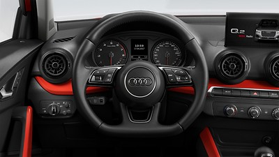 Flat-bottomed 3-spoke leather-trimmed multi-function Sport steering wheel with gear-shift paddles