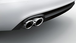 Sport tailpipe trims, for vehicles with single tailpipe on the left and right, chrome-finished, silver