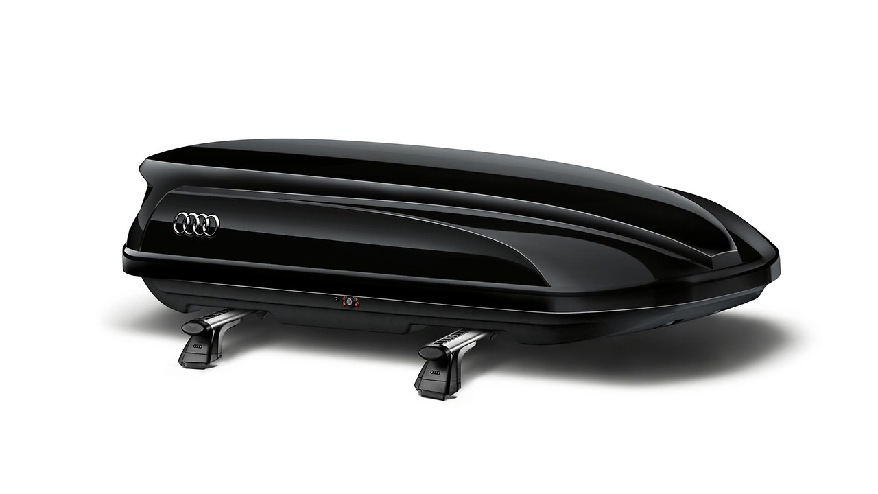 Ski and luggage box, brilliant black, 300 l. Also available in platinum grey with black side blades.