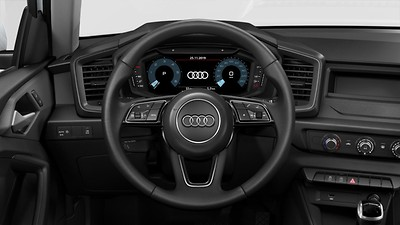 Leather steering wheel in 3-spoke design with multifunction plus and shift paddles
