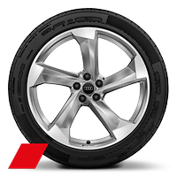 Audi Sport cast alloy wheels, 5-arm turbine style, Platinum Look, diamond- turned, 10J x 21 with 285/45 R21 tires