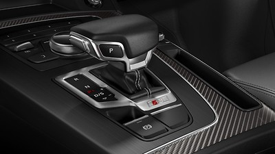 Gear-lever knob in black perforated leather