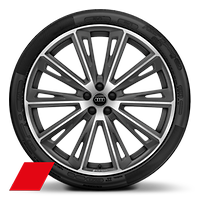 Alloy wheels, 10-spoke trapez. Style, Matte Titan. Gray, diam.-turn., 10Jx23, 285/35 R23 tires, Audi Sport GmbH