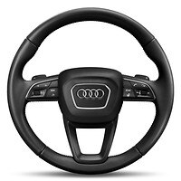 Leather-wrapped steering wheel, 3-spoke, with multi-function Plus incl. steering wheel heating