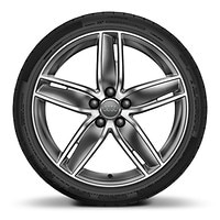 Audi Sport cast alloy wheels, 5-arm wing style, Glossy Titanium Look, 8J x 19 with 235/35 R19 tires