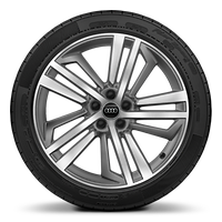 "20"" alloy wheels in 5-segment-spoke design, contrasting grey, partly polished with 255/45 tyres"