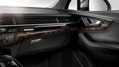 Inlays - Upper in High-gloss black, lower in Walnut, terra brown