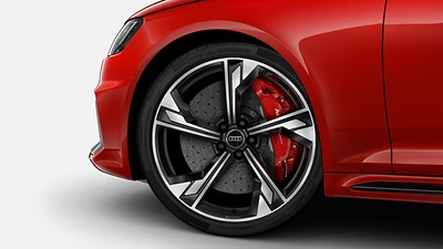 Ceramic brakes with red brake calipers, glossy, 19-inch