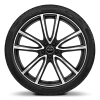 Alloy wheels, 5-arm Avius style, Black Matte, diamond-turned, 8.5J x 21, 255/40 R21 tires