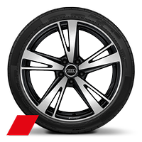 "19"" Audi Sport alloy wheels in 5-arm blade design in gloss anthracite black, gloss turned finish with 255/30 tyres at front and 235/35 tyres at rear"