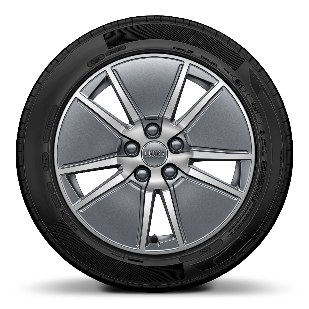 Cast alloy wheels, 5-arm Aero style, Contrast Gray, partly polished, 7.5J x 17