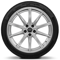 Forged alloy wheels, 10-spoke star style, 9.0J x 19, 265/35 R19 tires