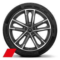 Audi Sport cast alloy wheels, 5-double- arm style, Matte Titanium Look, diam.- turned, 8.5J x 20, 255/40 R20 tires
