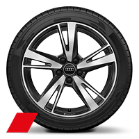 Alloy wheels, 5-arm blade style, Anthracite Black, diam.-turned,8J x 18, 225/40 R18 tires, Audi Sport GmbH