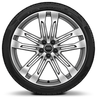 "21"" Audi Sport alloy wheels in 5-twin-spoke V design, contrasting grey, partly polished with 255/40 tyres"