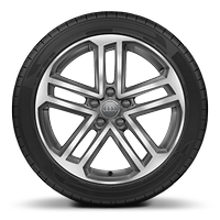 Cast alloy wheels, 5-double-spoke style, Contrast Gray, partly polished, 8J x 18 with 225/40 R18 tires