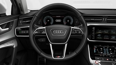Heated leather-wrapped multifunction steering wheel with shift paddles