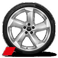 "20"" 5-arm dark silver diamond cut wheels"