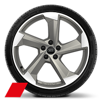 Alloy wheels, 5-arm turbine style, Magnesium Gray, diam.-turn., 9.0J x 20, 265/40 R20 tires, Audi Sport GmbH