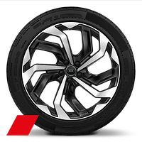 Audi Sport cast alloy wheels, 10-spoke rotor style, Black, diamond-turned, 9.5J x 21 with 265/45 R21 tires