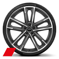 "21"" Audi Sport alloy wheels in 5-twin-arm design, titanium look, gloss turned finish with 255/35 tyres"