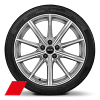 Audi Sport cast alloy wheels, 10-spoke star style, Platinum Look, diamond- turned, 8.5J x 19 with 255/35 R19 tires