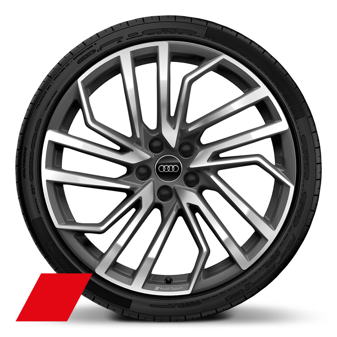 "20"" x 9.0J '5-segment-spoke Evo style' design Audi Sport alloy wheels in matt titanium look, high sheen finish with  275/30 R 20 tyres"