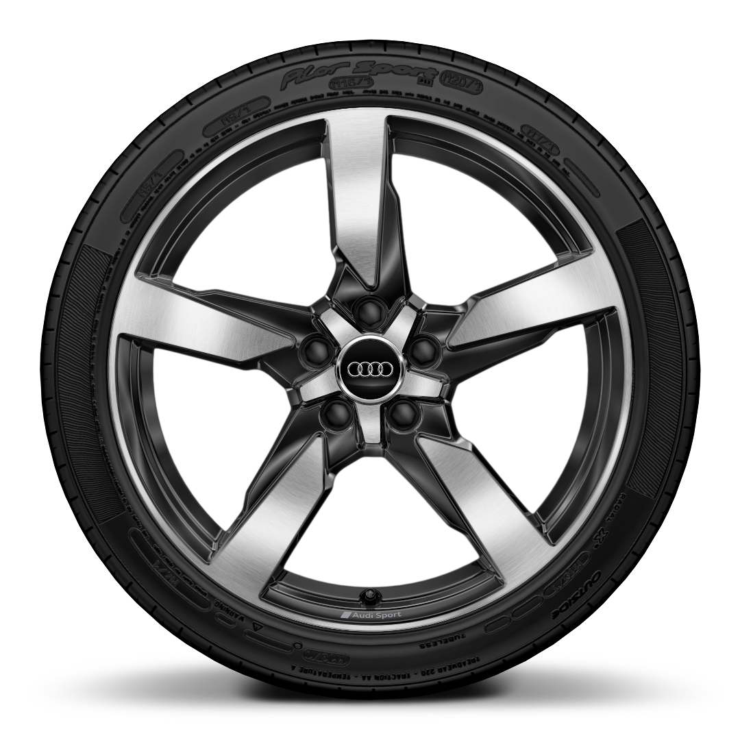 "19"" x 9J '5-arm polygon style' glossy anthracite black, diamond cut with 245/35 R19 tyres"