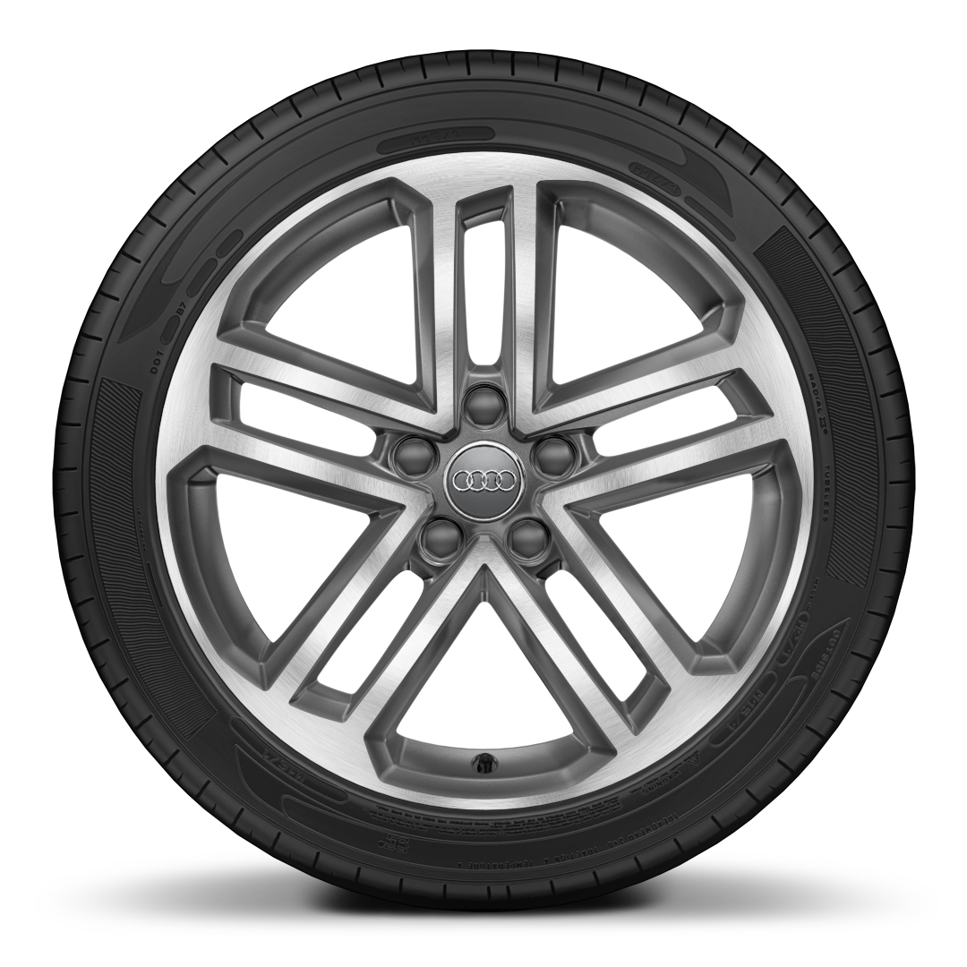 "18"" x 8.0J '5-twin-spoke' design alloy wheels in contrast grey, diamond cut finish with 225/40 R18 tyres"
